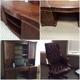 Desk, Computer Hutch, and Tufted Leather Executive Chair in St. Charles, Illinois