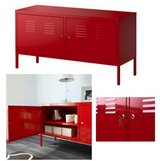 Red Metal Cabinet in Bellaire, Texas
