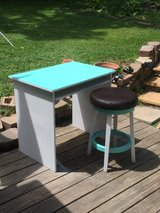 """Small computer desk with padded swivel stool."""" RECLAIMED-REFINISHED""""nice in Naperville, Illinois"""
