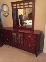 Mission style cherry wood dresser with mirror in Naperville, Illinois