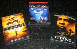 3 Disney Sports DVD Movie Lot Invincible / Miracle / Remember the Titans Movies in Houston, Texas