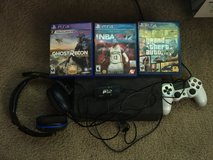 PS4 console, one controller, turtle beach headset, 3 games in Fort Carson, Colorado
