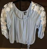 Blue shirt/Blouse W/Flower Lace sleeves in Okinawa, Japan