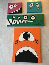4 Monster Hand painted canvases in Okinawa, Japan