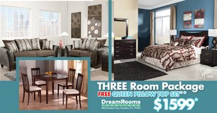 3 Room Package - FREE Queen Pillow Top* - Dream Rooms Furniture! in Bellaire, Texas