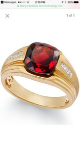 Men's Garnet (5ct. t.w.) & Diamond Accent Ring in 10k Gold in Lockport, Illinois