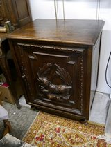 small cabinet with beautiful hunting carvings,dark oak in Ramstein, Germany