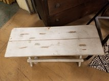 Shabby chic white painted foldup bench in Naperville, Illinois