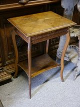 small table with carvings around 1880, oak in Baumholder, GE