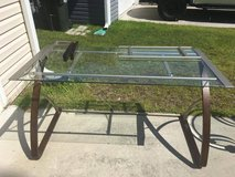 Modern Glass Top Desk 28 inches deep by 55 inches wide great condition like new in Cherry Point, North Carolina