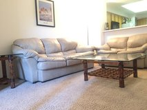 Leather couches and oak/bamboo/glass coffee tables in Luke AFB, Arizona