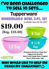 Tupperware 3 pc Wonderlier Bowl Set in Ottawa, Illinois