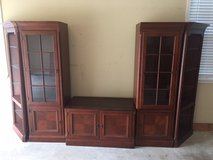 5 Piece solid wood entertainment cabinet with curio cabinets and corner pieces in Warner Robins, Georgia