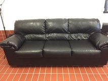 Ashley Black Leather Couch in Ramstein, Germany
