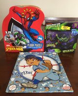 Spider Man Floor Puzzle, TMNT 3D, Playskool Diego Baseball Puzzle in St. Charles, Illinois