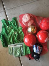 Soccer ball set for coaching in Vacaville, California