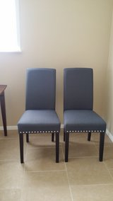 Dining Room Chairs ~ Set of Two ~ Gray Linen Fabric in Alamogordo, New Mexico
