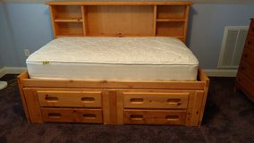 Twin Sized Wooden Bed in Cherry Point, North Carolina