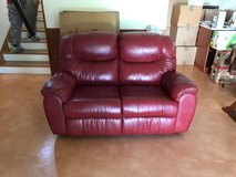 Red Leather Reclinable Love Chair in Okinawa, Japan