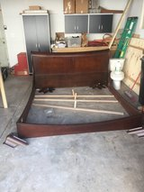 King Size Bed Frame Canadian Sleigh Style, Hard Wood, complete very nice! in Batavia, Illinois