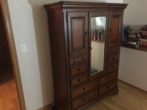 """Bureau Cabinet Style Dresser Dark Hard Wood with Mirror 66"""" tall, 48"""" long 18"""" wide in Naperville, Illinois"""