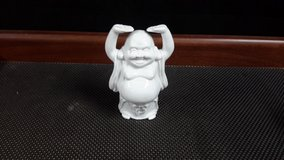 White Porcelain Happy Buddha Standing (Made in Japan) in Okinawa, Japan