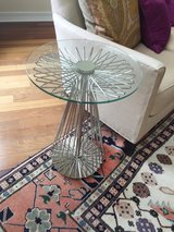 "Pair of Polished Nickel Finish ""Radial"" Side Tables from Ethan Allen in Pasadena, Texas"