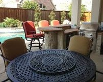 wrought Iron patio table with umbrella in San Clemente, California