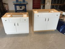 Two Used White Bathroom Cabinets in Kingwood, Texas