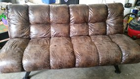 Distressed Faux Leather Futon in Clarksville, Tennessee