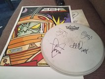 Autographed drum cover from the band Alien Ant Farm with poster in Fort Campbell, Kentucky