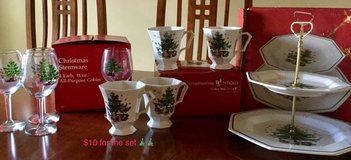 Nikko Christmastime coffee mugs, wine glasses, and tiered serving plate in Lockport, Illinois