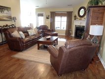Top Grain Leather couch, 2 chairs and ottoman LIKE NEW less than 3 years old in Camp Lejeune, North Carolina