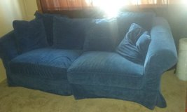 blue suede couch in Yucca Valley, California