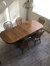 Wooden table w/extender  and 5 wooden chairs in Fairfield, California