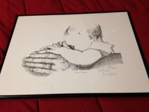 PRAYING HANDS PICTURE WITH BLACK METAL FRAME in Kingwood, Texas