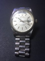 Round silver Rolex analog watch with link strap in Fairfield, California