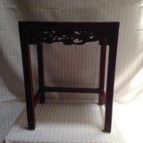 ASIAN INSPIRED CHERRY WOOD AND MARBLE SIDE TABLE (SMALL) in Kingwood, Texas
