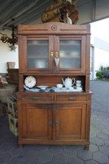 Art Nouveau dining room hutch with original glass and hard ware - ideal project piece in Spangdahlem, Germany