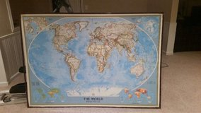 National Geographic laminated world map in Chicago, Illinois