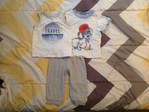 BABY OUTFIT: PANTS WITH 2 SHIRTS SIZE 6-12 MONTHS in Cherry Point, North Carolina