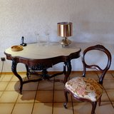 Antique Wood French Table Marble Slab Top Two Chairs in Ramstein, Germany