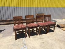 """(4) SOLID """"LIBRARY"""" CHAIRS WITH   CUSTOM TIE ON CHAIR CUSHIONS in Kingwood, Texas"""