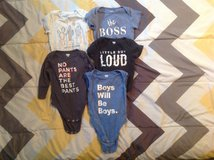 5 BABY ONESIES SIZE 6-12 MONTHS in Cherry Point, North Carolina