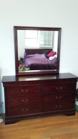 Large Wooden Dresser with Mirror in Chicago, Illinois