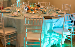 Wedding Table Overlays Aqua Color With Wave Look in Batavia, Illinois