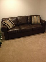 Brown faux leather couch very good condition in Chicago, Illinois