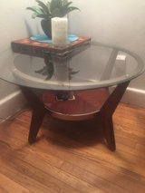TABLE Round Glass,Wood,Brass in Norfolk, Virginia