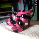 Women's Size 9.5 pink/black heels by Guess in Ramstein, Germany