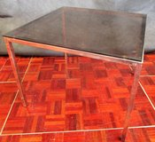 Coffee Table with Smoked Glass and Chrome Legs 70 cm wide and deep in Ramstein, Germany